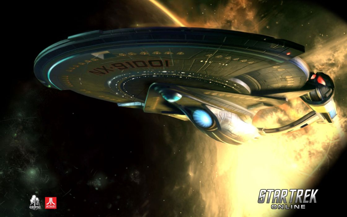 STAR TREK ONLINE game sci-fi futuristic spaceship poster wallpaper