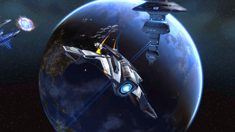 STAR TREK ONLINE game sci-fi futuristic spaceship planet wallpaper