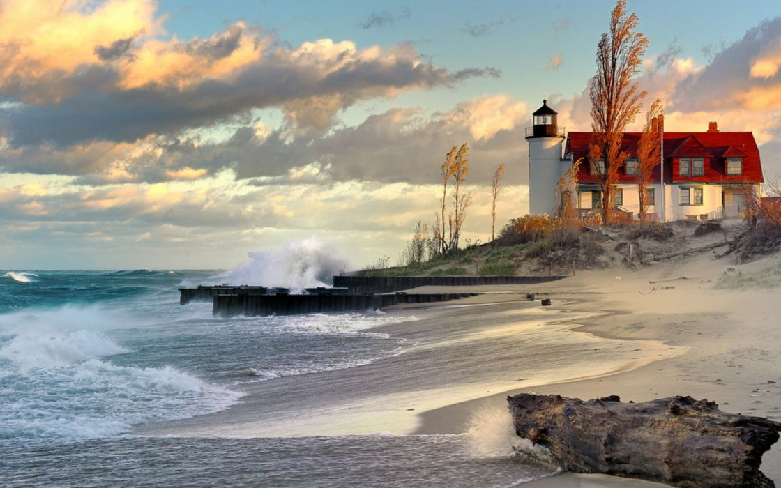 water clouds landscapes lighthouses beaches wallpaper