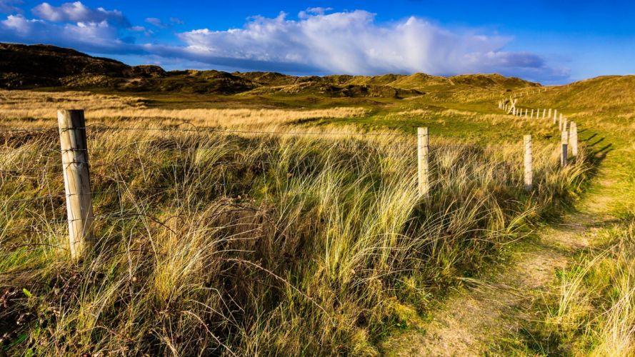 landscapes fences fields paths wallpaper