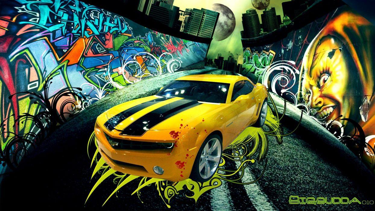 Cars Engines Graffiti Digital Art Camaro Automobile Wallpaper