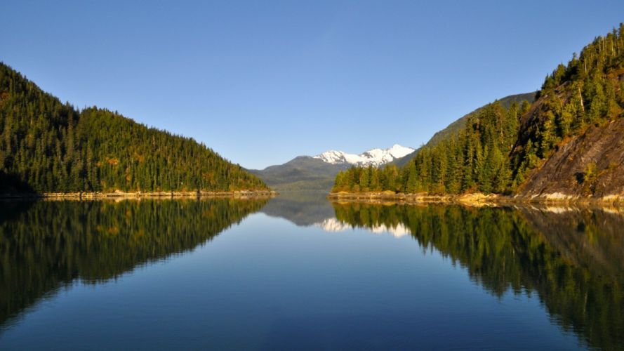 landscapes nature lakes reflections land pine trees wallpaper