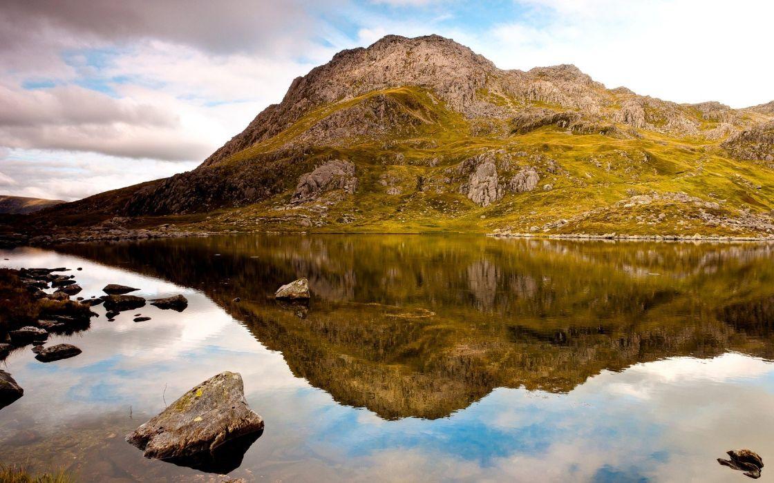 landscapes hills reflections wallpaper