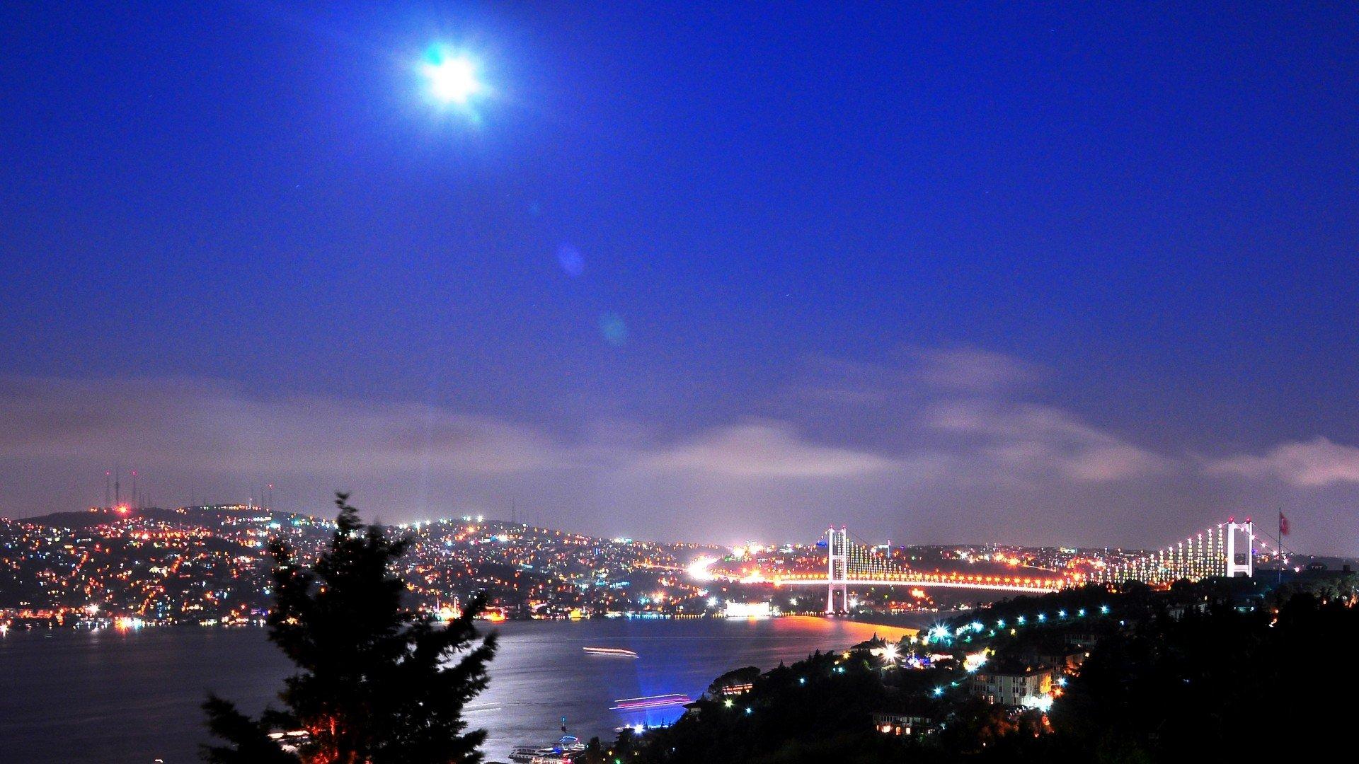 Cityscapes night Turkey Istanbul bosphorus cities ...