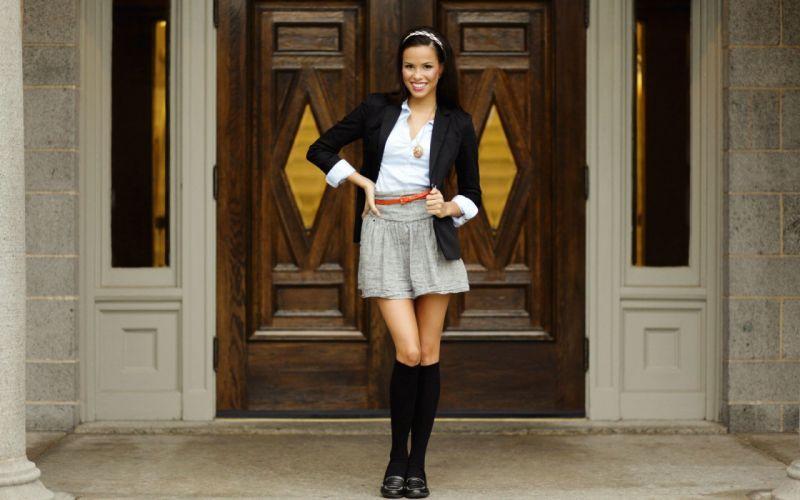 brunettes women models skirts socks jackets smiling shirts wallpaper
