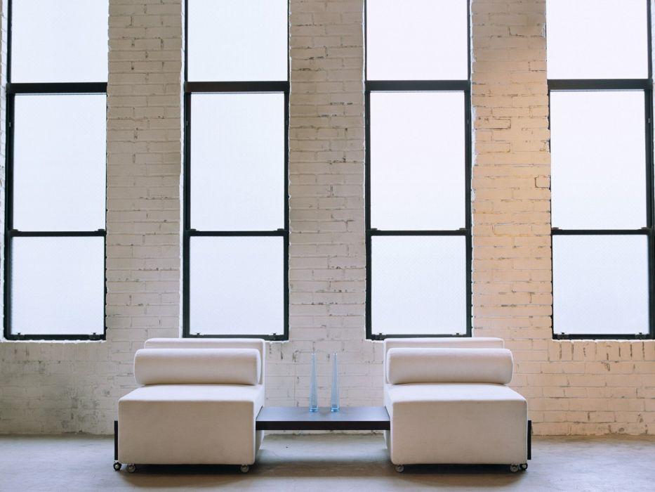 chairs Cushion window panes brick wall vases interior design wallpaper