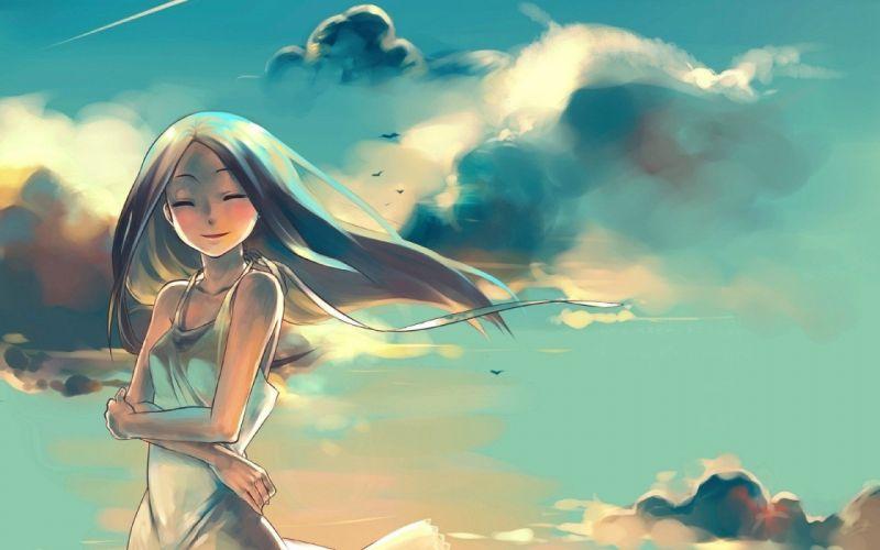 women paintings clouds artwork anime girls original characters wallpaper