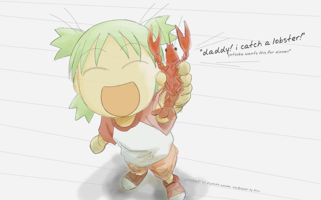 food Yotsuba lobsters green hair open mouth manga closed eyes Yotsubato wallpaper