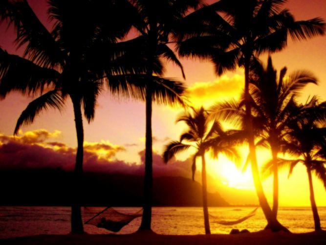 sunset landscapes Hawaii paradise kauai afternoon beaches wallpaper