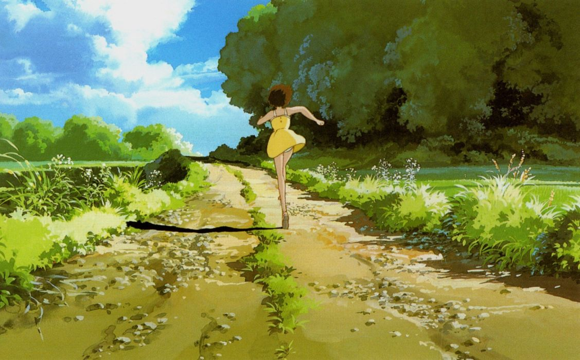 paths My Neighbour Totoro running yellow dress wallpaper
