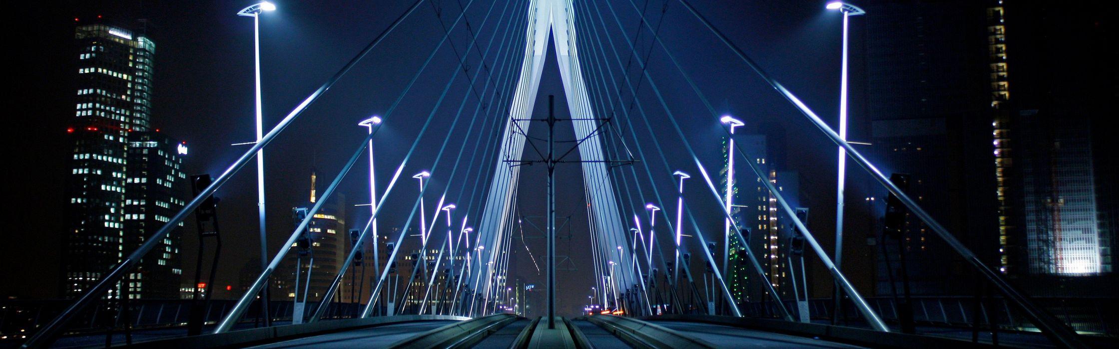 night lights bridges Holland Rotterdam The Netherlands Erasmusbrug wallpaper