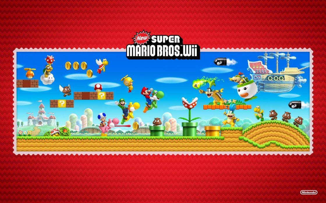Nintendo Super Mario Nintendo Wii Super Mario Bros_ new super mario bros wii wallpaper