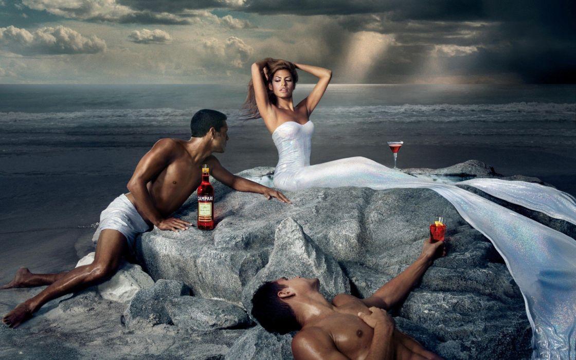 brunettes women actress Eva Mendes brown eyes Campari commercial wallpaper