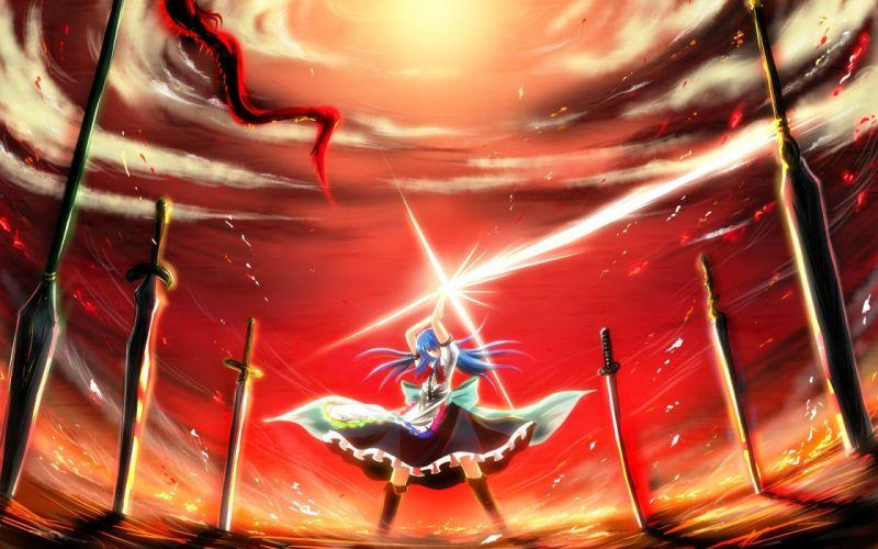 Touhou weapons Hinanawi Tenshi anime girls swords Nekominase wallpaper