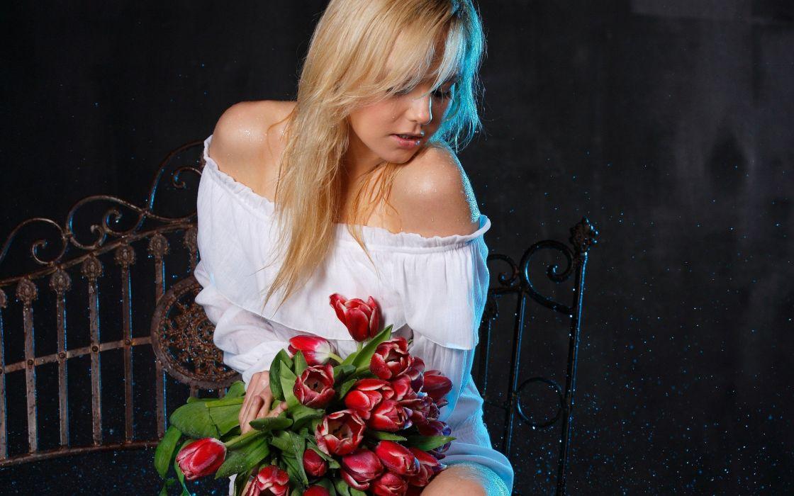 blondes women flowers wallpaper