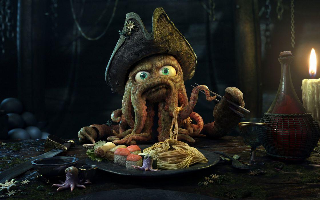 pirates octopuses Pirates of the Caribbean flying dutchman Davy Jones wallpaper