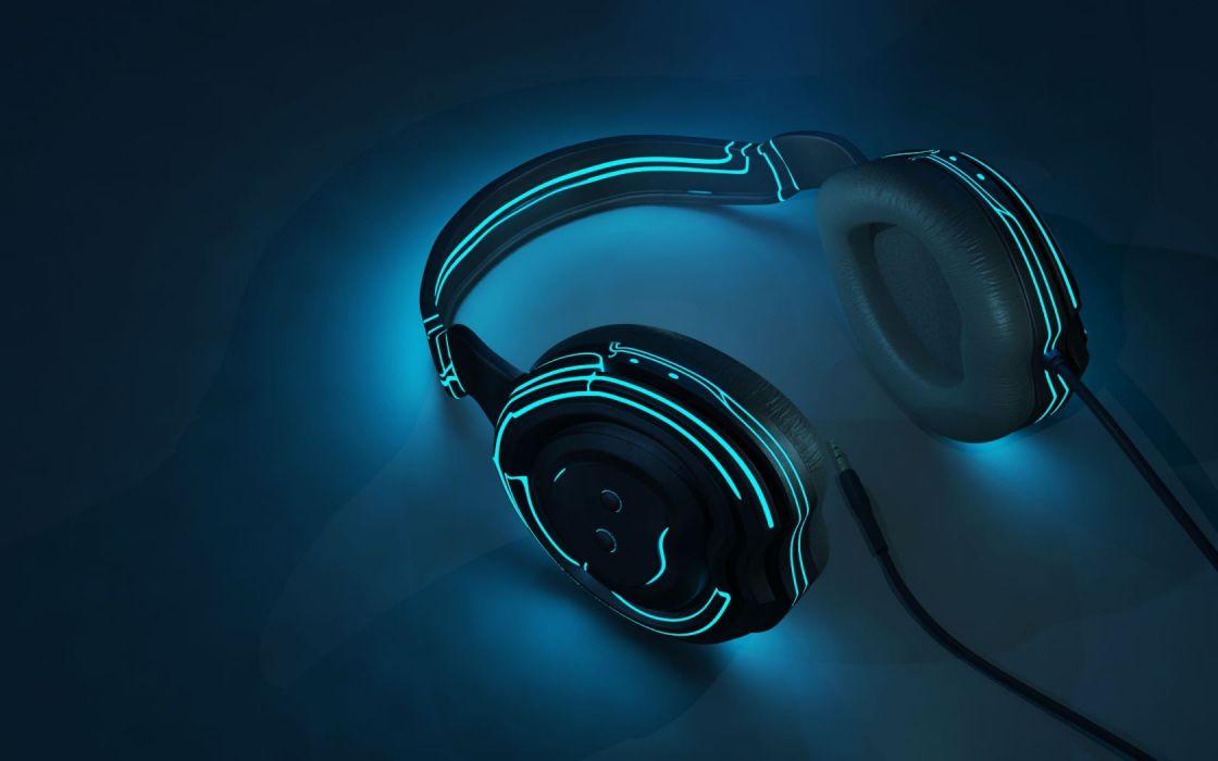 headphones Tron 3D renders wallpaper