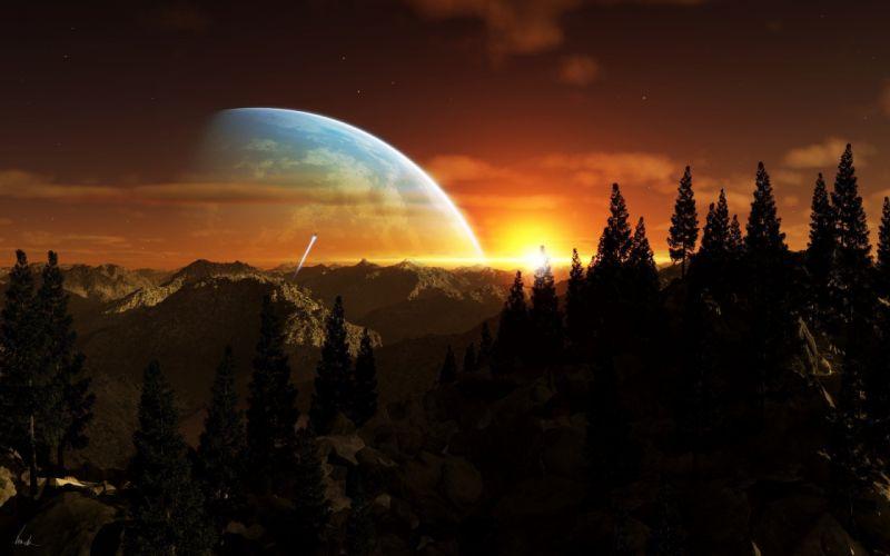 sunset futuristic digital art science fiction wallpaper