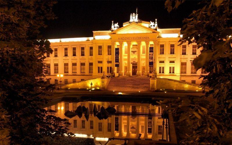 night lights Hungary museum szeged wallpaper