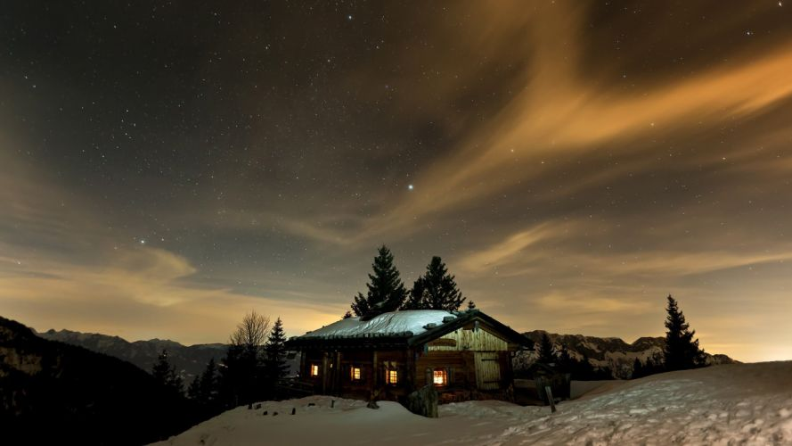 mountains winter night stars skyscapes cottage night sky wallpaper
