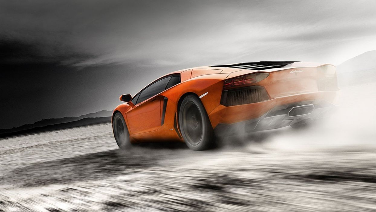 cars smoke home Lamborghini dust roads Lamborghini Aventador orange cars Lamborghini Aventador LP700-4 wallpaper