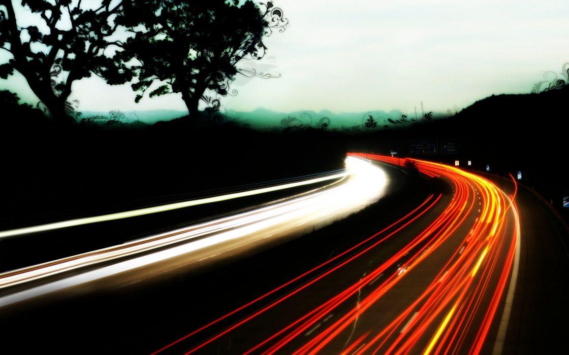 trees traffic roads long exposure light trails wallpaper