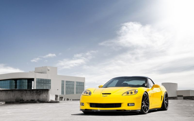 clouds cars vehicles supercars tuning Chevrolet Corvette wheels racing Chevrolet Corvette Z06 sports cars luxury sport cars yellow cars speed automobiles wallpaper
