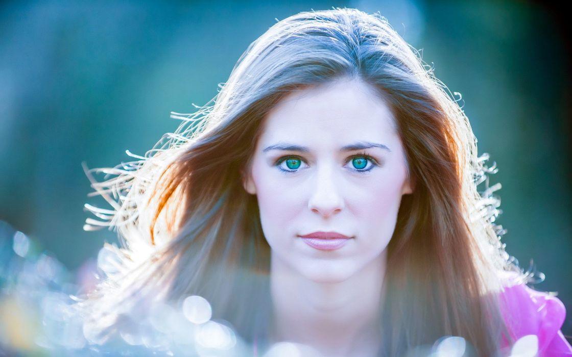 brunettes women green eyes faces wallpaper