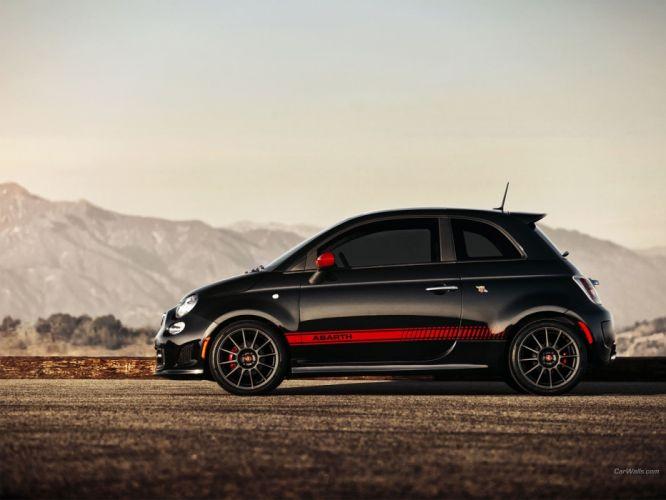 black cars Fiat 500 Abarth selective coloring wallpaper