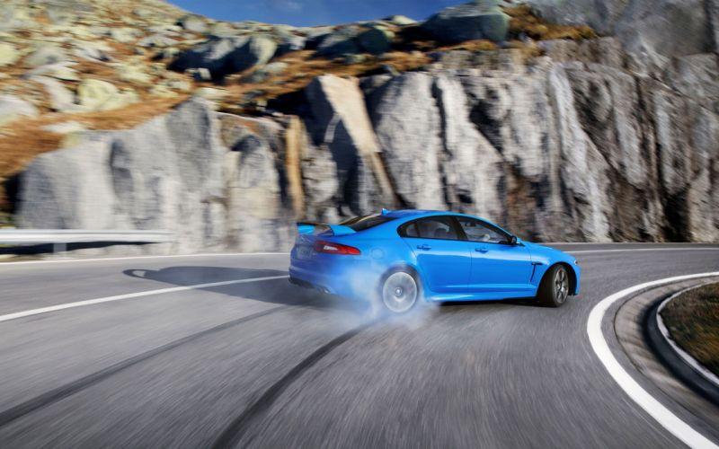 mountains roads supercars Jaguar XFR drift wallpaper