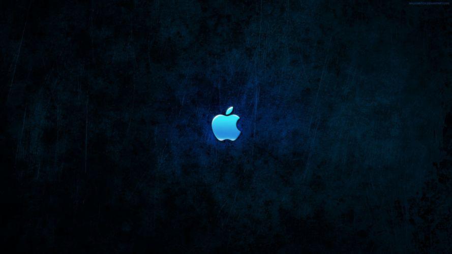 blue dark Apple Inc_ iMac Mac logos wallpaper
