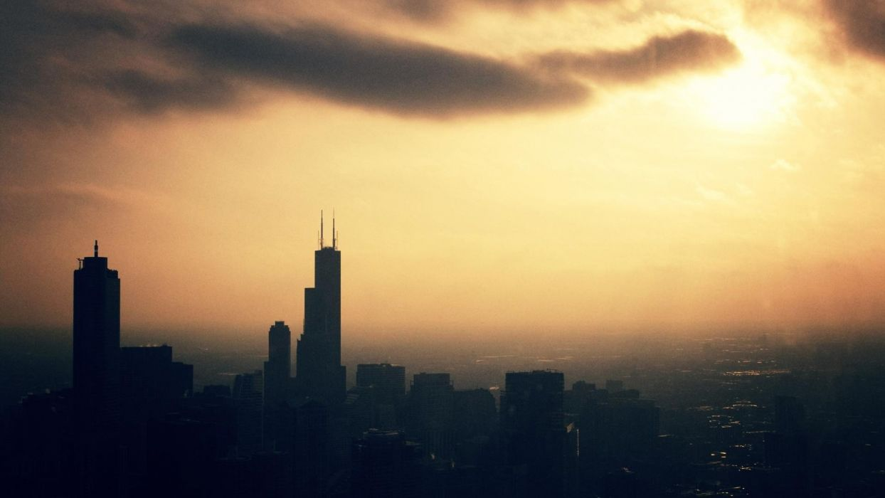 sunset cityscapes Chicago buildings evening wallpaper