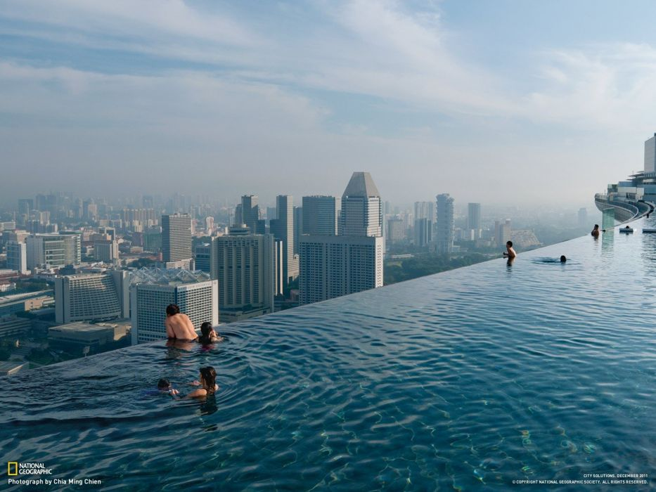 cityscapes Singapore National Geographic swimming pools Marina Bay Sands wallpaper