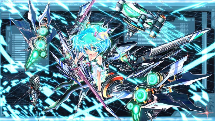 Vocaloid dress Hatsune Miku cleavage keyboards machines short hair thigh highs instruments guitars aqua eyes aqua hair white dress mecha musume microphones hair ornaments wallpaper