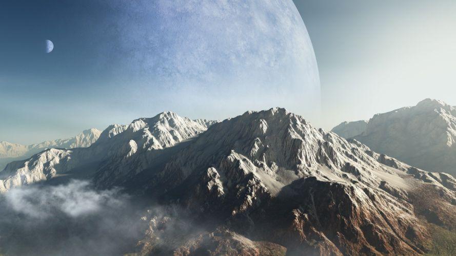 mountains clouds planets alien landscapes wallpaper