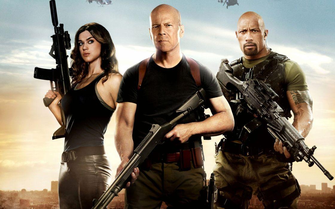 machine gun The Rock Bruce Willis Dwayne Johnson G_I_ Joe Retaliation wallpaper