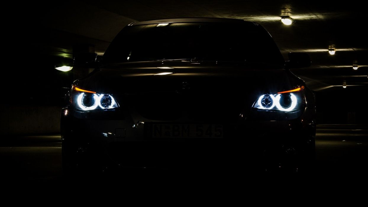 BMW lights cars vehicles BMW 5 Series BMW E60 automobile bmw 5 eyes Angel Eyes wallpaper