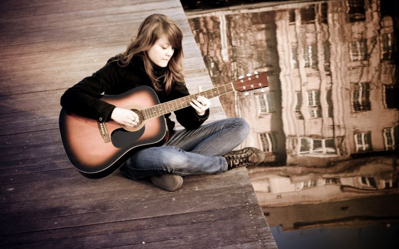 brunettes women water jeans music bridges guitars wallpaper