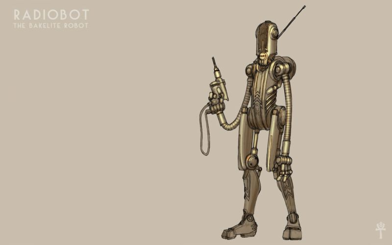 robot retrofuture wallpaper