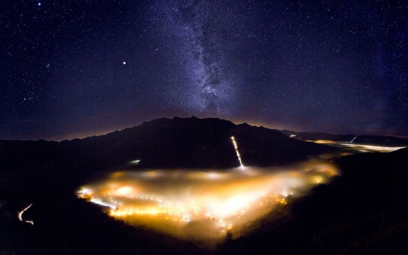 blue mountains nature dark night lights stars skyscapes wallpaper