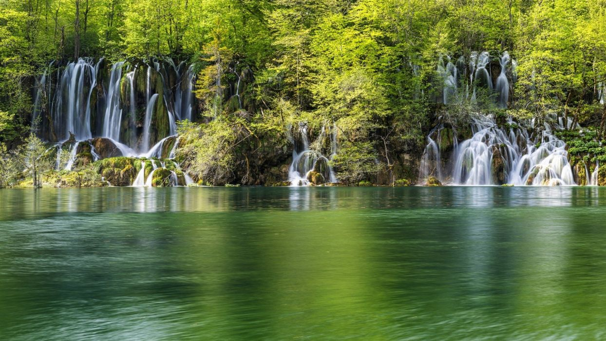 green water landscapes nature trees white forests wonder lakes waterfalls rivers lagoon wallpaper