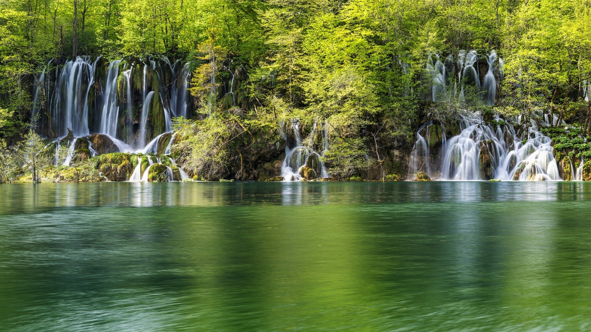 Green water landscapes nature trees white forests wonder ... Hd Wallpapers 1920x1080 Nature