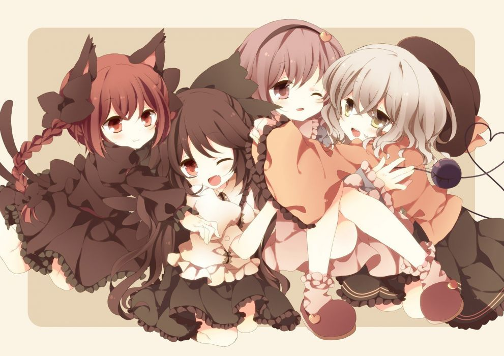 tails video games Touhou dress redheads skirts chibi long hair brown eyes nekomimi pink hair animal ears Kaenbyou Rin black dress open mouth braids white hair wink Reiuji Utsuho Komeiji Koishi Komeiji Satori hats Subterranean Animism anime girls third eye wallpaper
