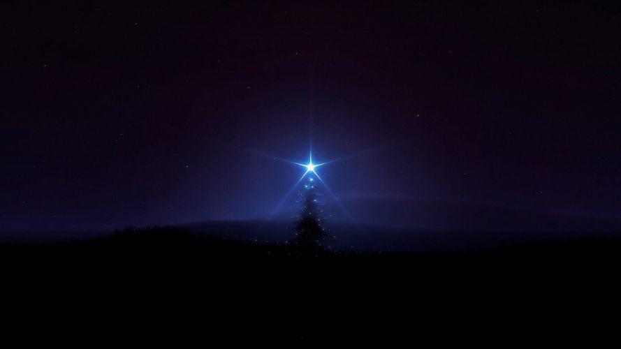 night stars Christmas Christmas trees glowing magic digital art glow skies wallpaper