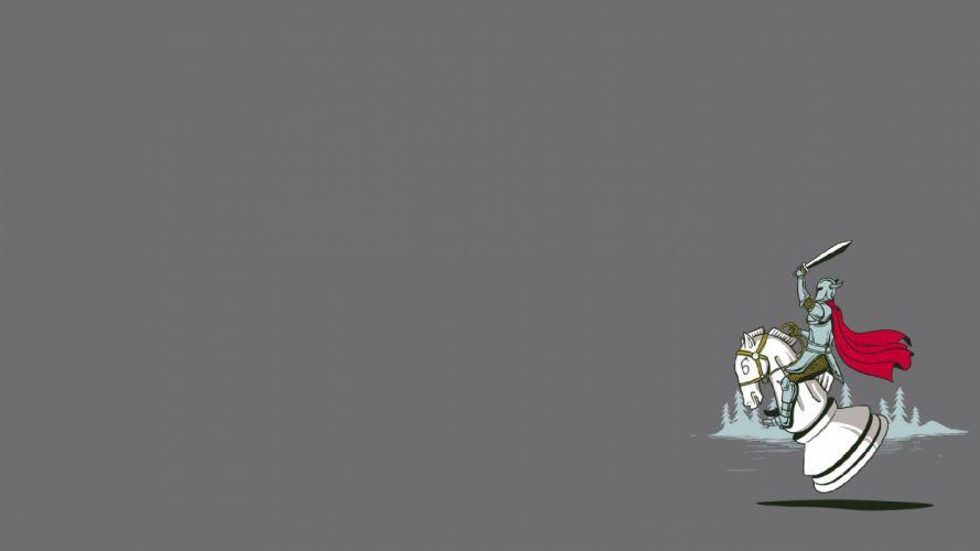 minimalistic knights chess wallpaper