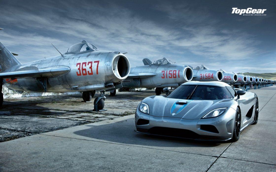 guns cars Top Gear Koenigsegg Cold War artillery jet aircraft Koenigsegg Agera wallpaper