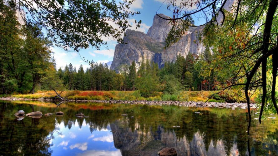 water mountains nature autumn forests lakes wallpaper