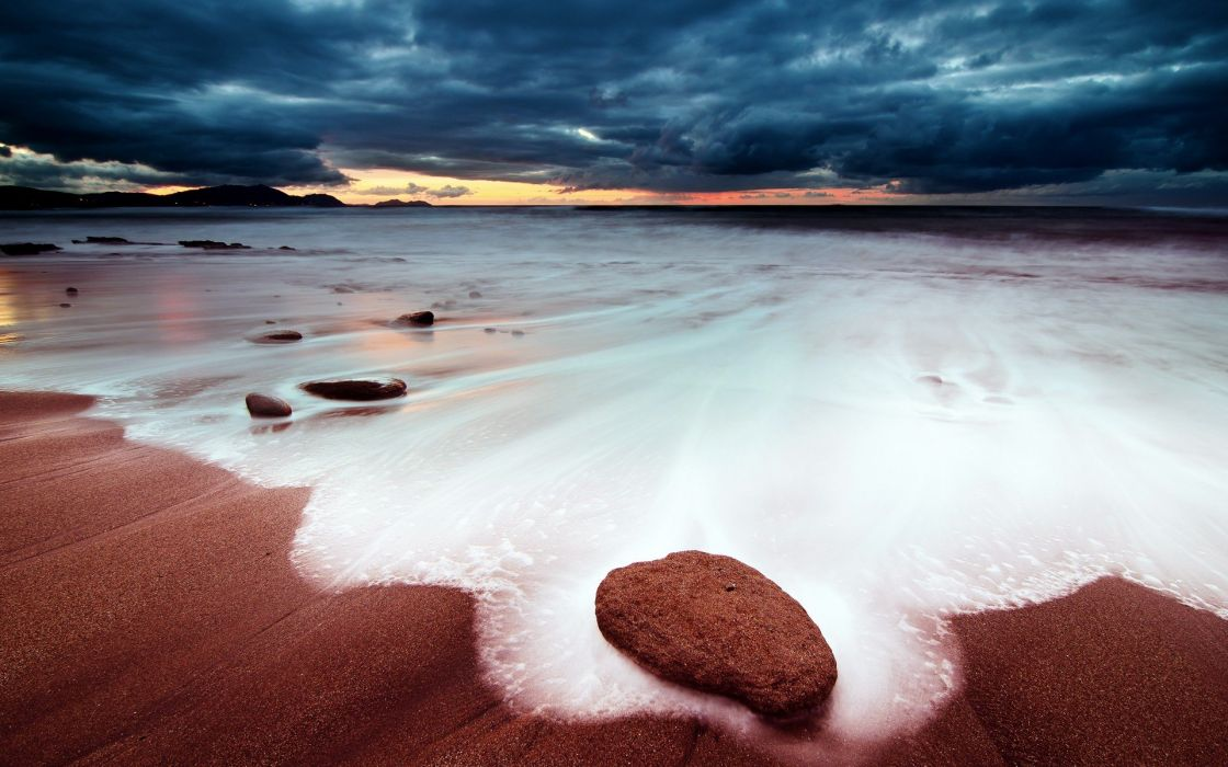 clouds landscapes nature seaside beaches wallpaper