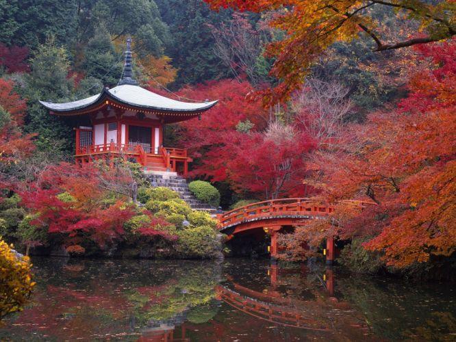 Japan autumn garden bridges Kyoto lakes maple wallpaper
