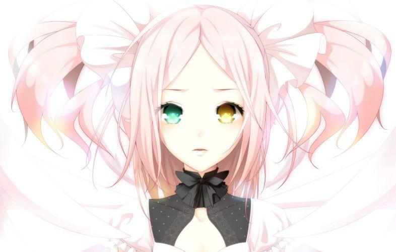 dress long hair heterochromia pink hair ponytails anime girls hair bow original characters wallpaper